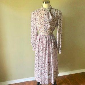 Vintage Ditzy Floral Sheer Midi Skirt Blouse Set